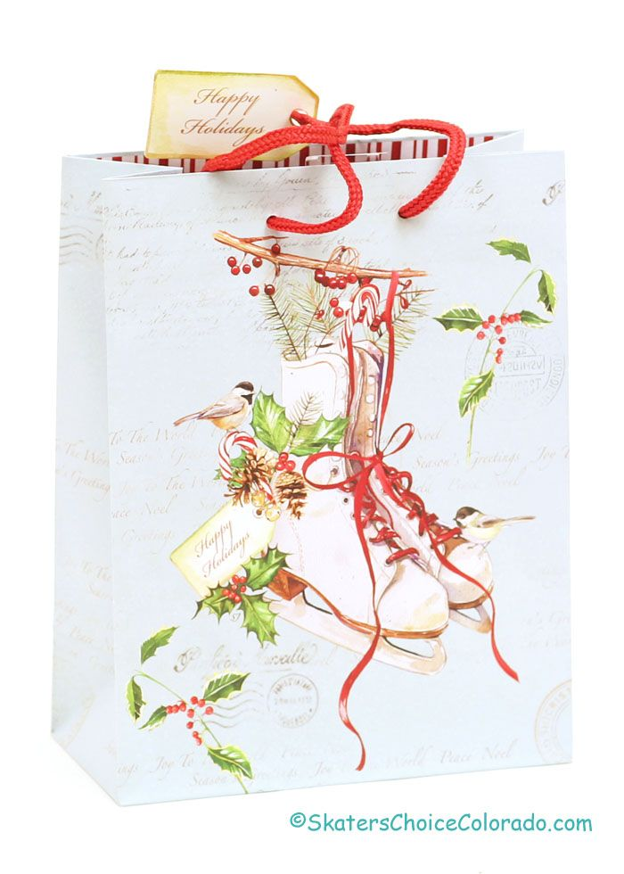 Skate Gift Bag Red Cord Handles and Happy Holidays Tag * $3.00  Christmas Ice Skate Gift Bag  Red Cord Handles and Happy Holidays Tag  Size: 7 inches Wide by 9 inches Tall and 3.5 inches Deep