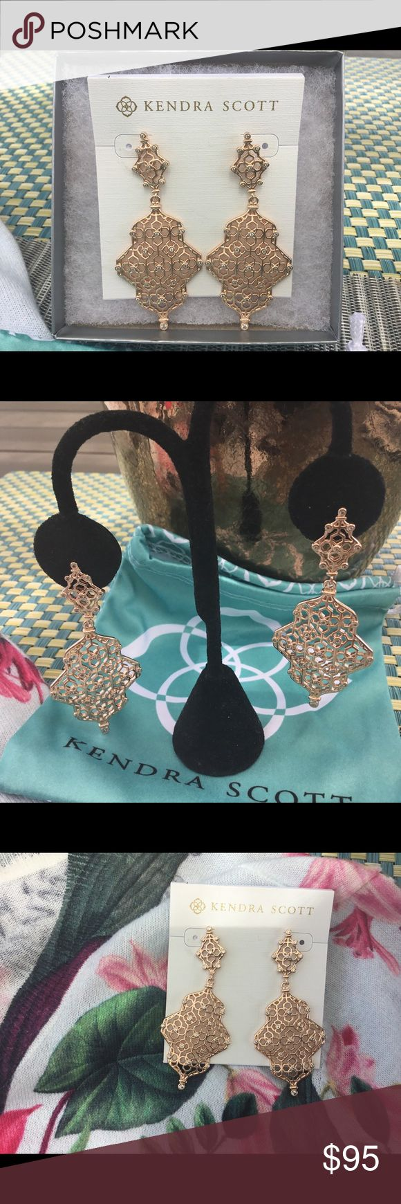 Kendra Scott NWT Rose Gold Renee Filagree Earrings Stunning Renee Rose Gold Intricately woven earrings with beautiful clear crystals. Kendra really went all out on this design as showstoppers. You will get many compliments wearing these. Most dept stores are sold out of them Kendra Scott Jewelry Earrings