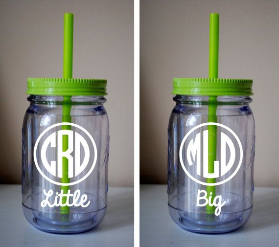 SET of 2 Big / Little Monogram Mason Jar Cup With Straw / Available In Many Colors