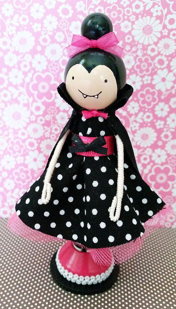 Vampire Girl Miniature Wooden Clothespin Doll by MountStCraftMess #vampire #halloween