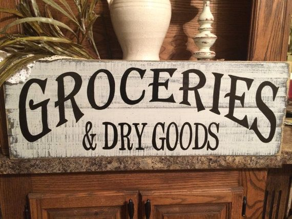 Groceries & Dry Goods distressed sign, hand made, hand painted pallet wood / repurposed lumber sign