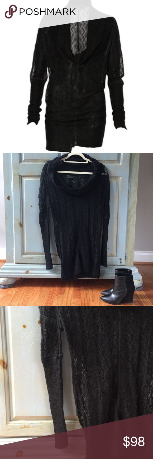 All Saints Bryce Jumper Dress in Black NWOT All Saints black lace knit, extreme cowl neck jumper dress with full length sleeves. The Bryce jumper features and uneven rib hem, exposed seams, unlined. Size UK8/US4. Styled with the Muubaa Neruda biker jacket in Valentine Grape (also for sale in my closet!) and the All Saints Manifesto boots in black. All Saints Dresses Mini