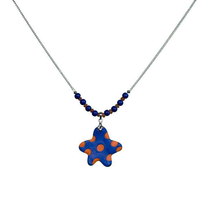 Polymer clay pendant with lapis lazuli and carnelian gemstones