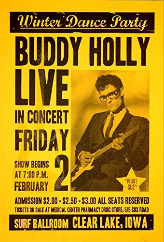 """Buddy Holly - Live In Concert."" Fantastic Print Taken from A Vintage Concert Poster by Design Artist http://www.amazon.co.uk/dp/B015388V54/ref=cm_sw_r_pi_dp_ixS7vb0WYG2X4"