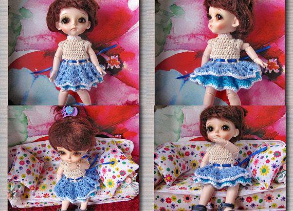 Crochet dres  Doll Bjd / 1/8 Dolls Lati yellow Free Shipping