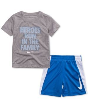 7445fc708 Nike Little Boys 2-Pc. Heroes-Print T-Shirt & Shorts Set - Gray 7  #toddlerclothing
