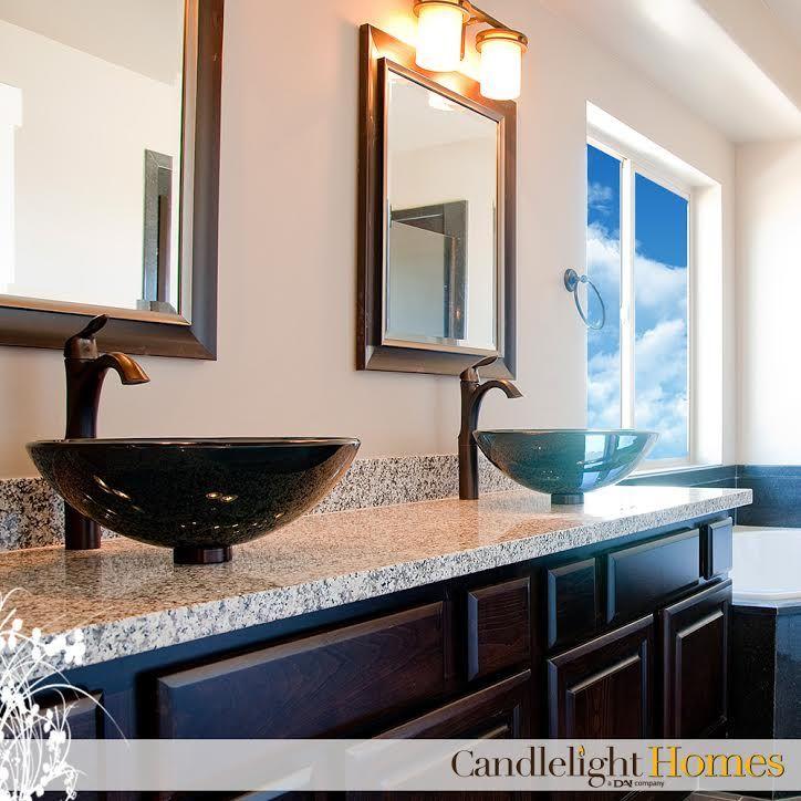 dark bathroom cabinets double mirror candlelight homes utah