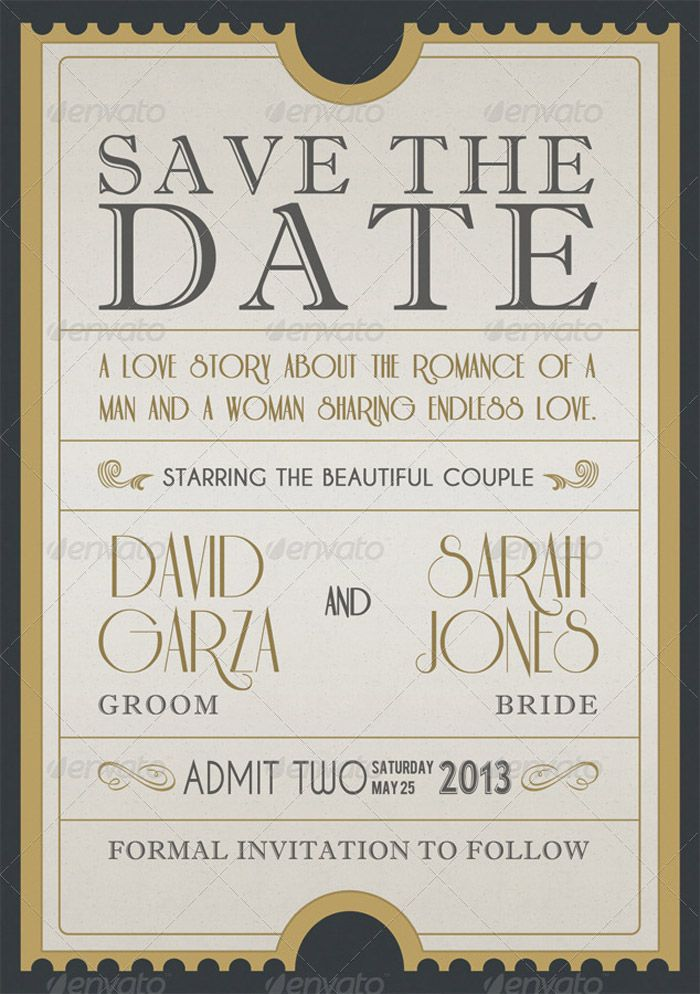 Admission Ticket Save The Date :: Fun text