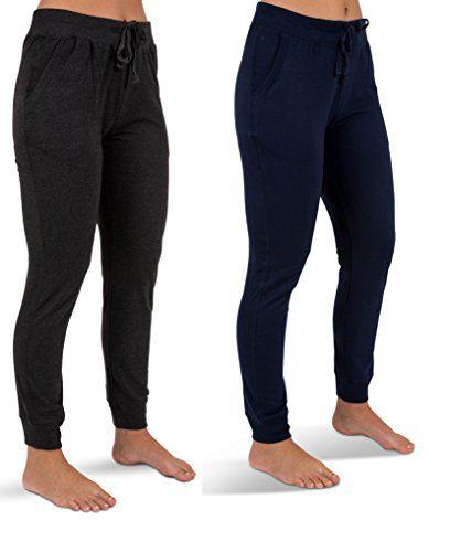 c86c905b61 Sexy Basics Women's 2 Pack Yoga ActiveWear Jogger Capri Cropped Sweat Lounge  Pants
