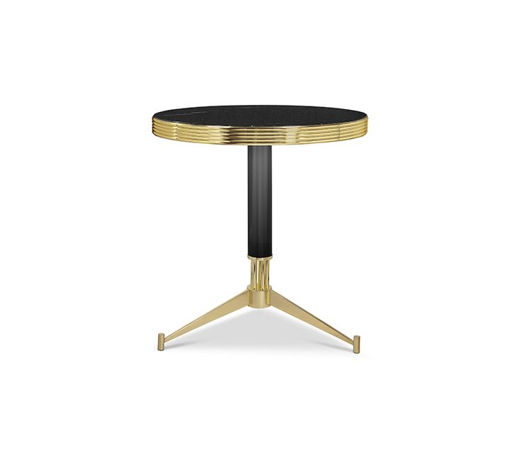 Dolly is a mid-century bistro table, inspired by the French style that was very popular during the 1920's années folles. It features a beautiful nero marquina marble top and a traditional brass band which encompasses the rim of the table. The three leg base is finished in gold plated brass and accented by a black lacquer finish on the stem. The perfect addition to a bistro, cafe, restaurant, hotel or indoor patio.