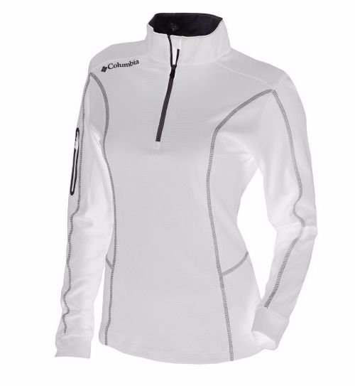 Columbia Golf Omni-Wick Shotgun 1/4 Zip Pullover: White lightweight long sleeve shirt layer for golfers that has a sleeve pocket convenient out on the golf course to grab your tee and ball marker. Good addition to ladies golf outfit that also makes a good golf gift!