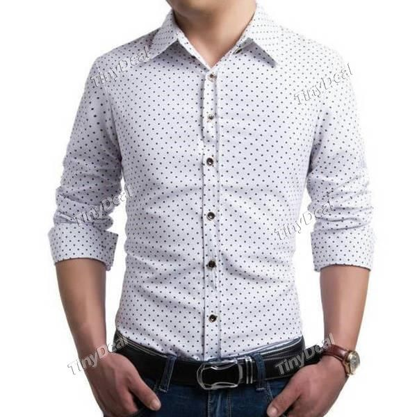 Spring/Autumn Office/Formal Printing Polka Dot Turndown Collar Long Sleeve Shirt DCD-422334