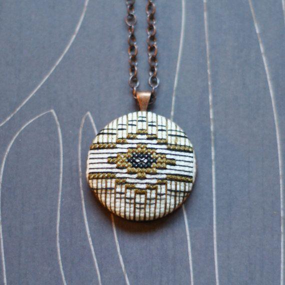 Southwest Diamond Cross Stitch Necklace/ Pendant by TheWerkShoppe, $38.00