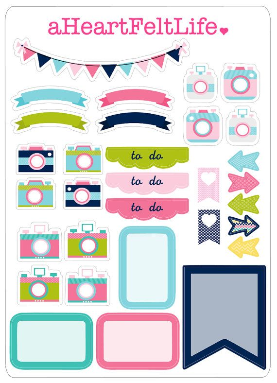 Preppy Camera Stickers & Banner Set for your Planner, scrapbook, calendar…