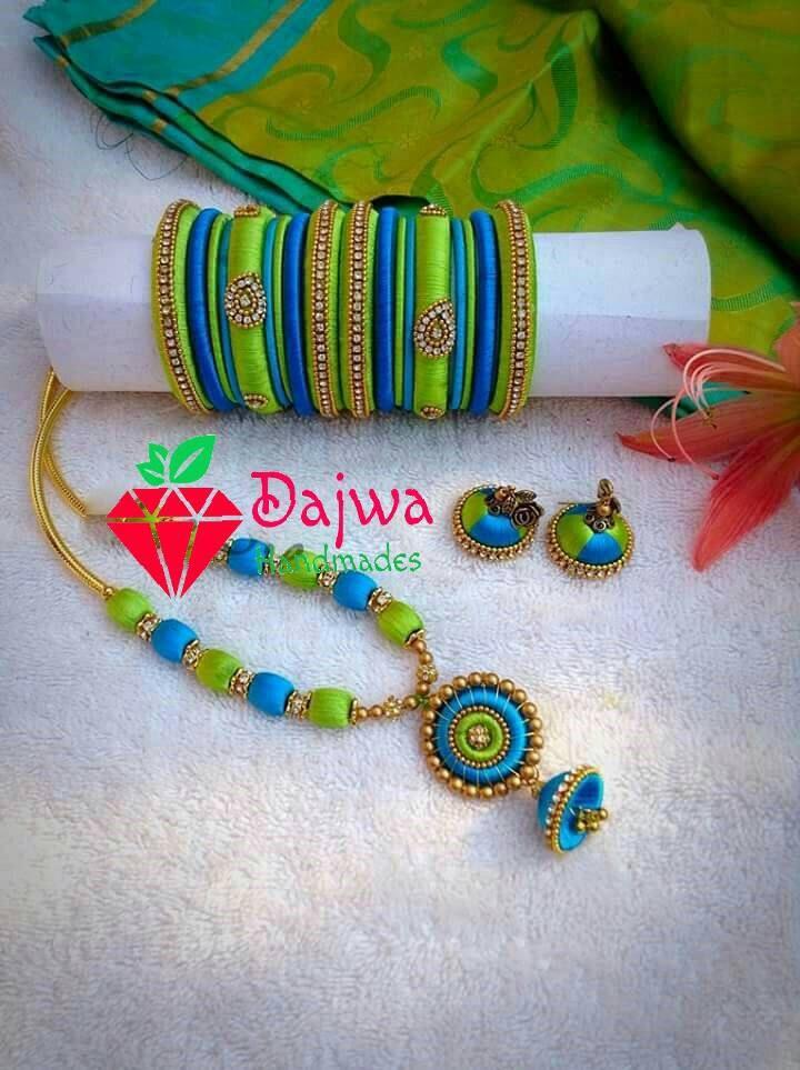 ... Silk thread Jewelery set - Silk thread Bangle with thread jhumkas.