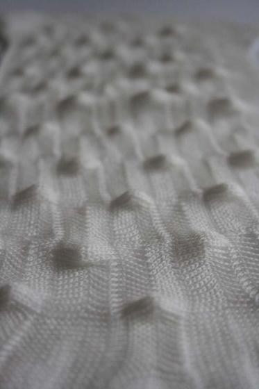Structural knit sample with textured pattern; 3D knitting; knitwear design detail // Debbie Hollman #textiles