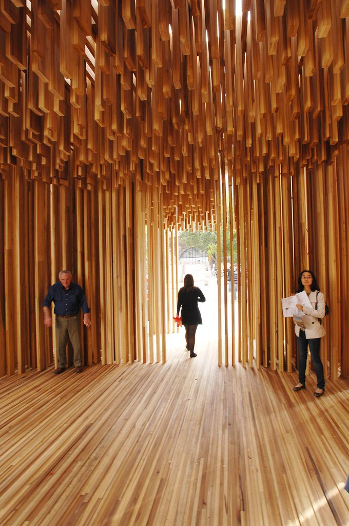 "https://flic.kr/p/7ZeHVF | David Adjaye: Scelera | 2008 | In a unique collaboration with The American Hardwood Export Council, architect David Adjaye created the pavilion ""Sclera"" for 2008's Size + Matter installation. Constructed from tulipwood, the structure blurred the boundaries between architecture, design, engineering and sculpture. Adjaye's interpretation of the meaning of ""Sclera"" as a ""space from my viewpoint"" resulted in an elliptical pavilion whose airiness and freedom was…"