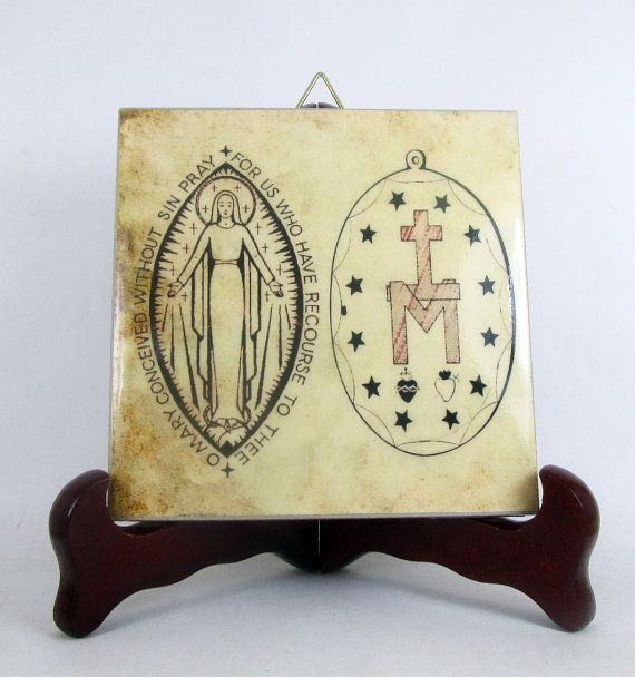 A very special gift idea for your catholic friends. Miraculous Medal - collectible ceramic tile handmade in Italy Nice and very cheap. Religious gifts - Catholic gifts by TerryTiles2014