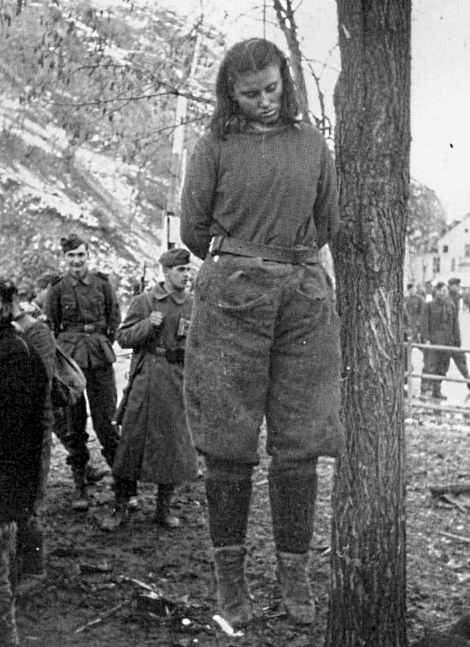 About one women hanged by nazis something is