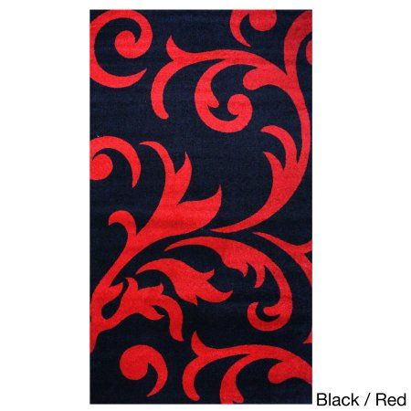 Super Area Rugs, Metro Stain-Resistant Black & Red Damask Rug, 5' x 8'