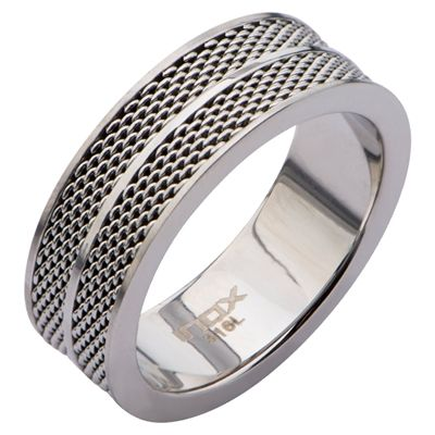 Men's Stainless Steel Polish Finished Mesh Ring