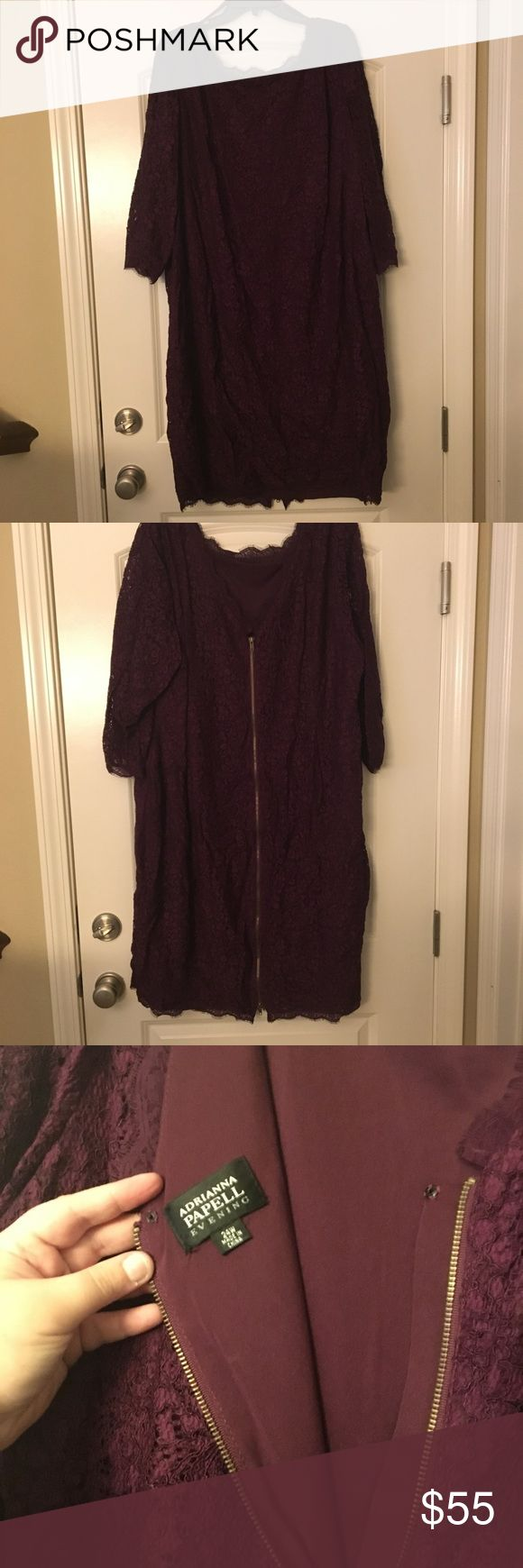 Adrianna Papell Plum Lace Dress Lovely lovely dress! Worn once to a wedding and received a ton of compliments! Full length zipper back. In fantastic condition, just a bit wrinkled from being stored. Adrianna Papell Dresses