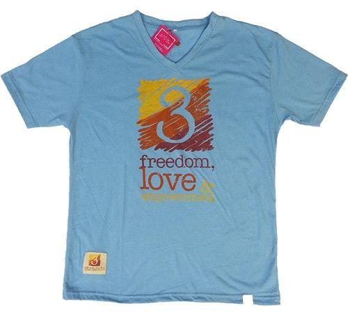 T-Shirt 3 Strands Logo - Mens V Neck Light Blue