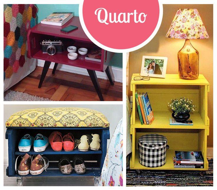 Caixotes para decorar o escritório. ♥ #caixotes #decoraçãocomcaixotes