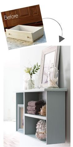 Turn an old drawer into a unique shelf from Confessions of a Serial Do-it-Yourselfer