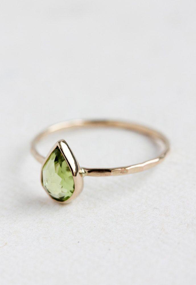 Peridot gold ring, August birthstone