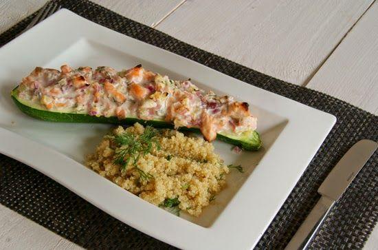 Recept || Gevulde courgette met zalm en geitenkaas