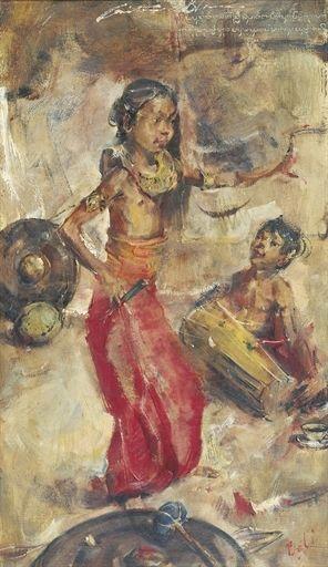 Antonio Blanco - Penari dengan penabuh drum