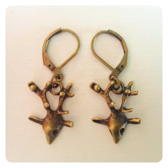 Deer Head with Antlers earrings by catsandwhiskers on Etsy, $8.50