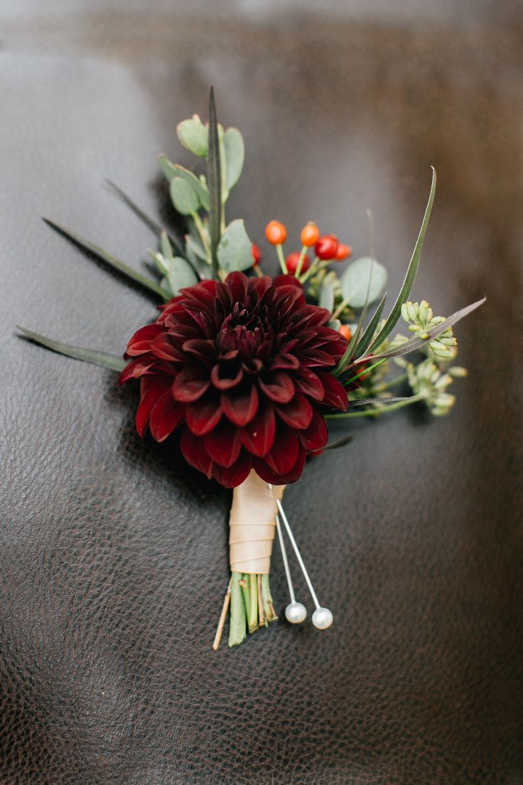 Dahlia corsage grown and designed by Love 'n Fresh Flowers.  Photo by Emily Wren Photography.