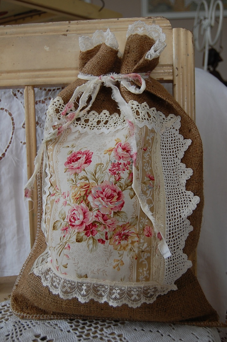 #Burlap bag + #vintage #hanky + #lace - makes a pretty #bag or #pillow - Vintage lace, roses and burlap by saltbox treasures - #home #decor #cottage #shabby #chic #DIY #crafts tå√