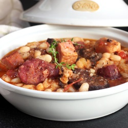 Fabada; a rich, classic, Spanish stew with sausages and beans