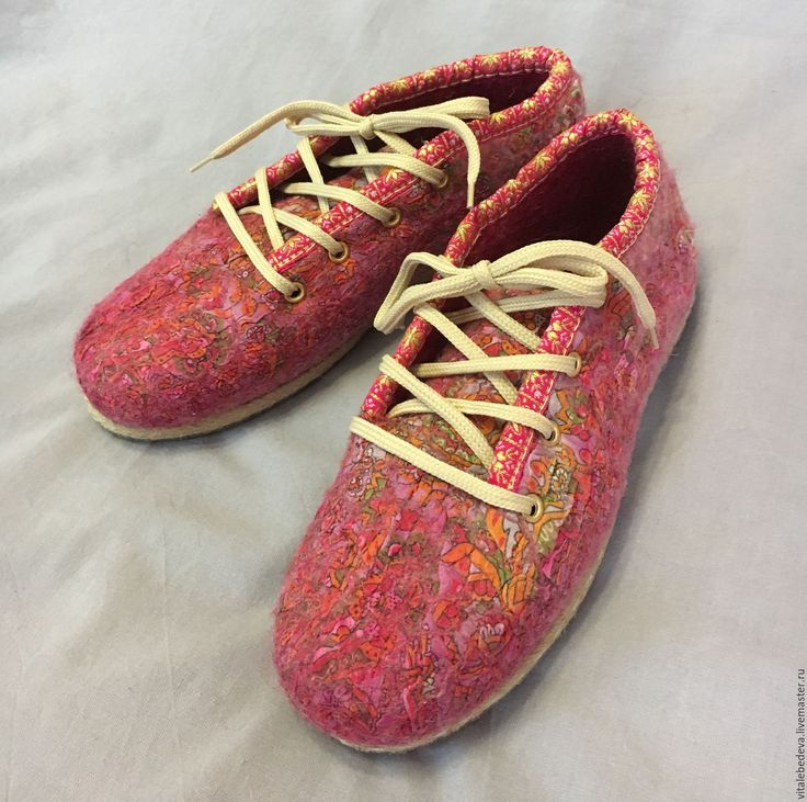 """Купить Туфли валяные прогулочные офисные яркие """" Фламинго"""" - ярко-красный, туфли"""
