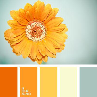 Oranges - jaunes - couleurs neutres + touche de bleu-gris pâle.