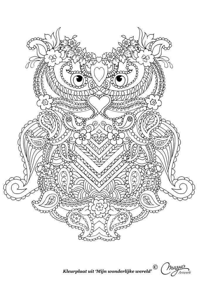 uil owl abstract doodle zentangle paisley coloring pages colouring adult detailed advanced printable kleuren voor volwassenen