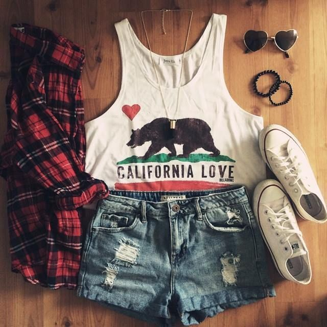 Red Plaid And Ripped Short I love California Outfi...