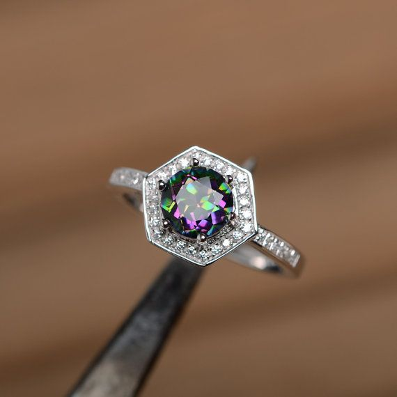 mystic topaz ring sterling silver ring birthstone ring rainbow ring promise ring for her
