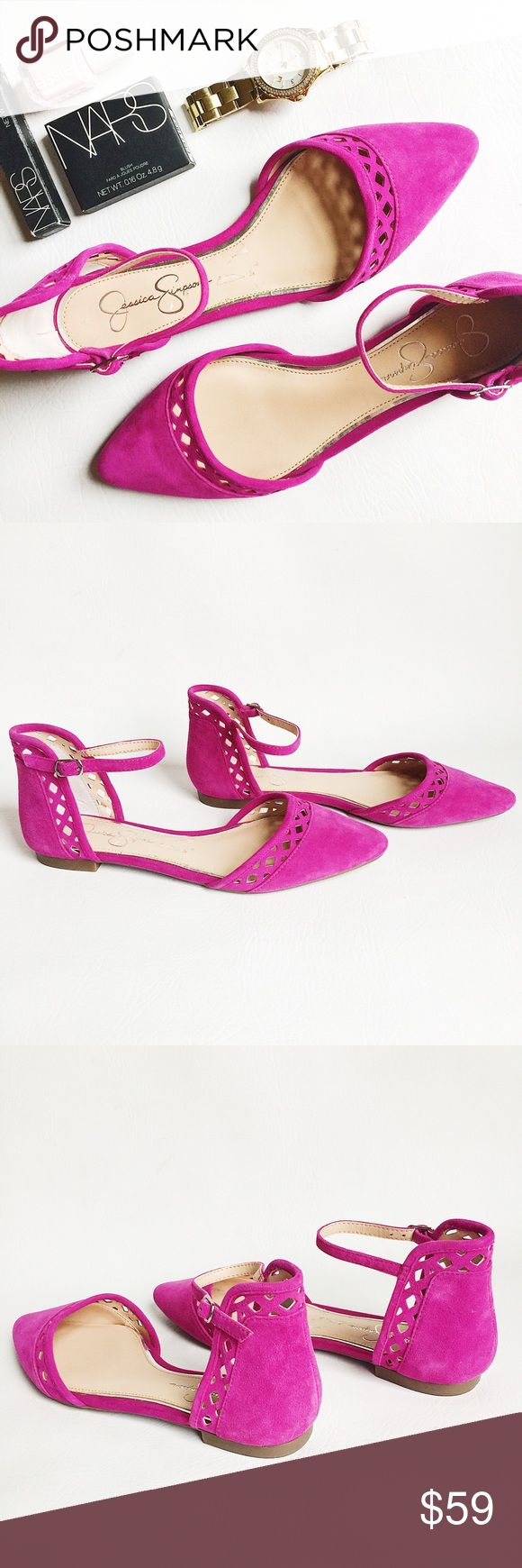 Jessica Simpson Zuka Suede D'orsay Flats Jessica Simpson Zuka Suede D'orsay Flats in fuchsia featuring cut out detail. Adjustable ankle strap and rubber soles. NWOT, never worn! Original box not included. • BUNDLE with accessories to SAVE and GET THE LOOK! • Jessica Simpson Shoes
