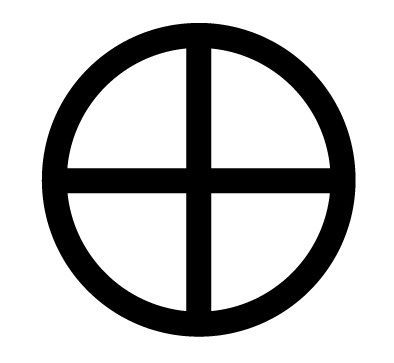 "This symbol is commonly known as a standard planetary symbol for Earth. Logically, the circle symbolizes the globe; the Earth itself. The cross has variable symbolic meaning (four ""corners"" of the earth, four directions, four seasons, four clans of mankind, four virtues, etc)."