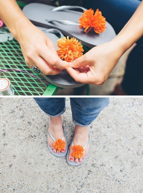 DIY Pom Poms for flip flops