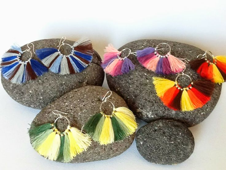 KARMA-Bohemian earrings #handmade #ombre #tassel #karma