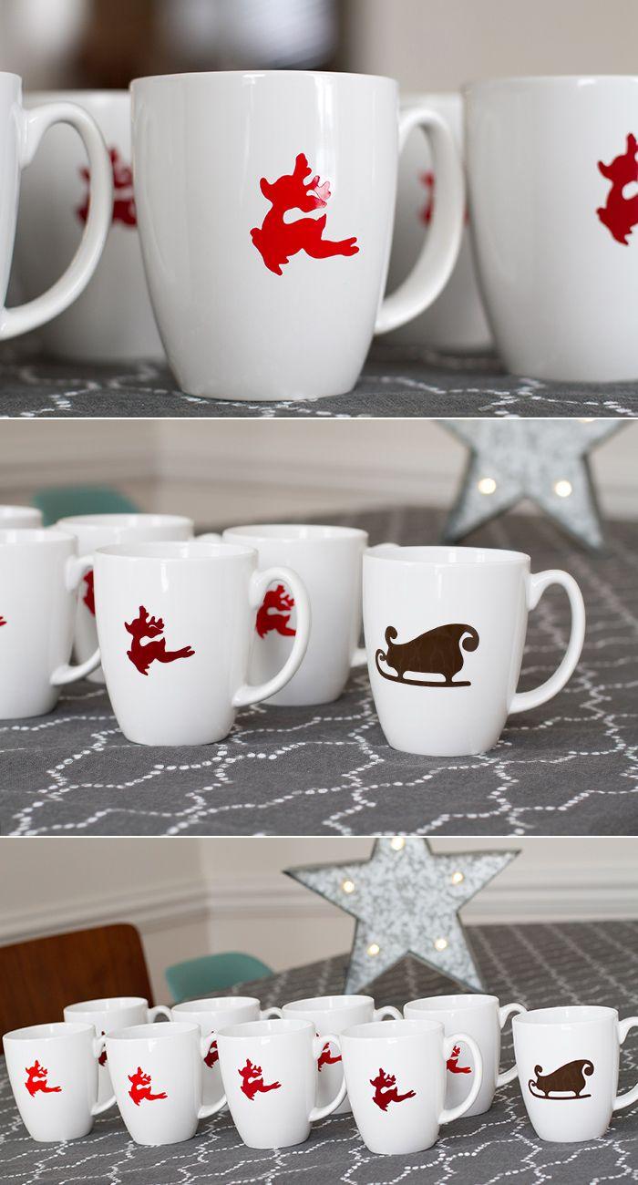 DIY vinyl Christmas mugs made with Cricut Explore -- Andrea's Notebook. #DesignSpaceStar Round 5