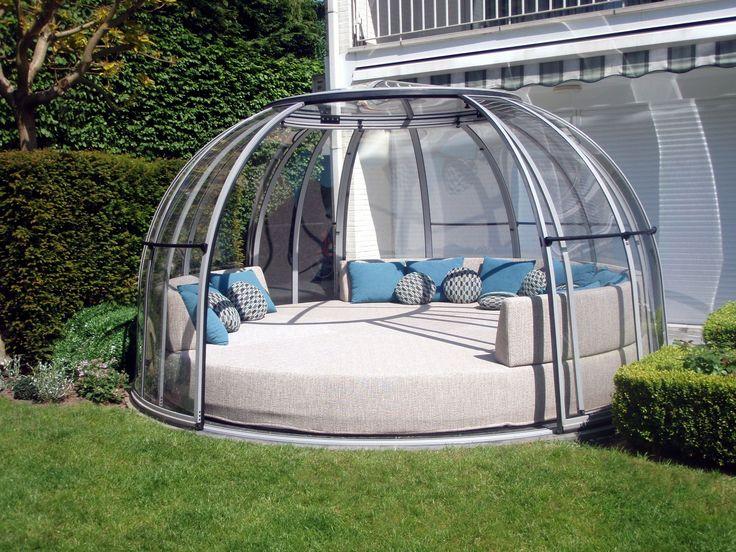 Comfy seating set covered by ORLANDO hot tub enclosure.