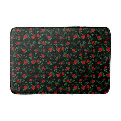 Stylized red roses on black bath mat - antique gifts stylish cool diy custom