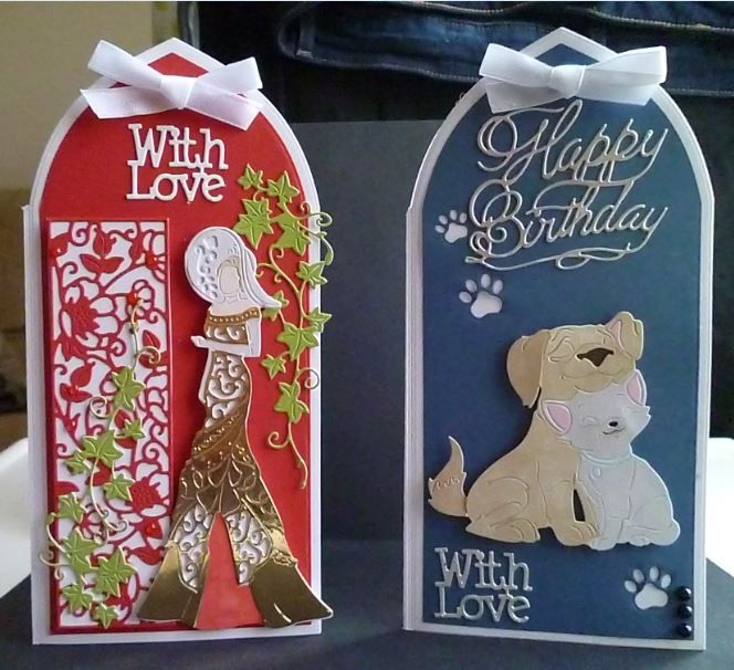 Cards made using the dies from the magazine subscripion