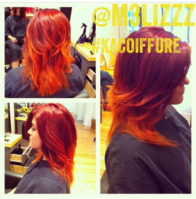 Flash ombré red cupper long curly kacoiffure